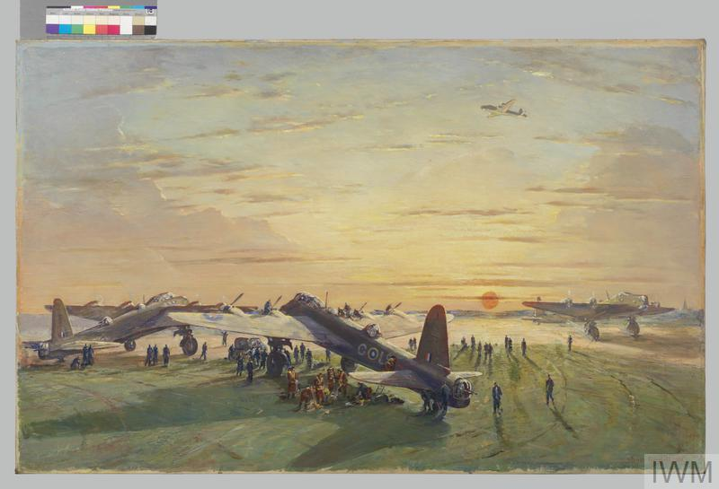 Stirling Bomber Aircraft : Take-off at sunset