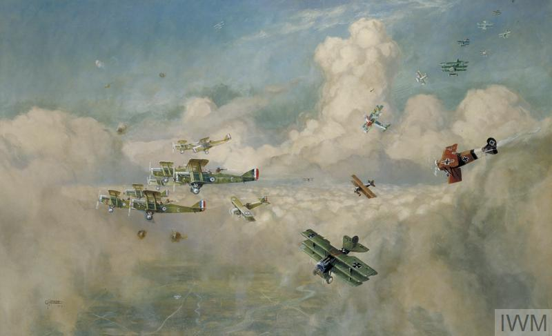 Closing Up: A Bombing Formation of British Biplanes (DH9a s) Closing Up to Beat Off an Enemy Formation of Fokker Triplanes by Horace Davis
