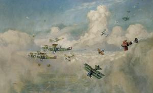 Closing Up: A Bombing Formation of British Biplanes (DH9a s) Closing Up to Beat Off an Enemy Formation of Fokker Triplanes