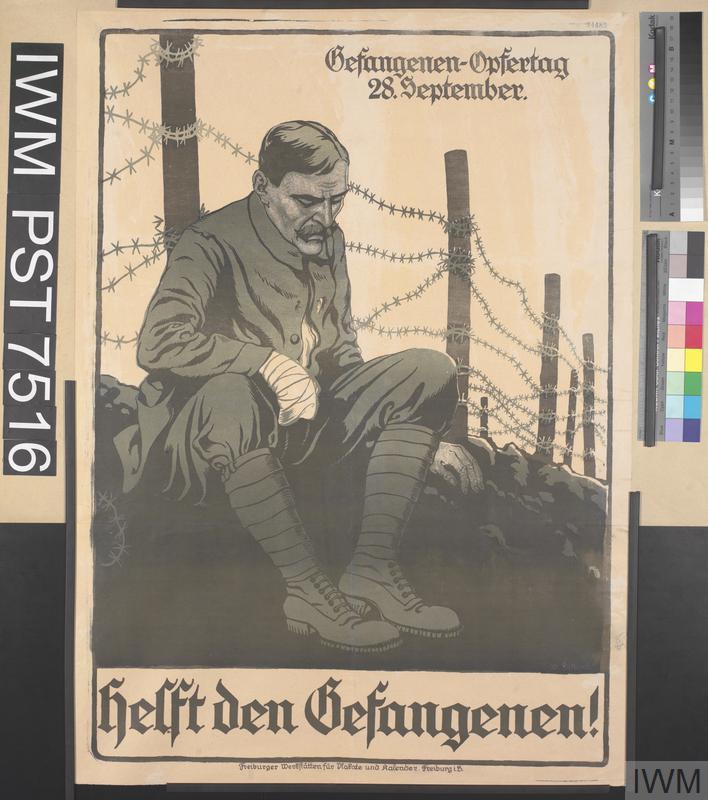 German WW1 Military Poster Helft den Gefangenen