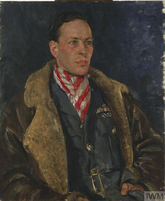 a half-length, seated portrait of Squadron Leader G L Denholm in uniform wearing a flying jacket and a red and white striped cravat.