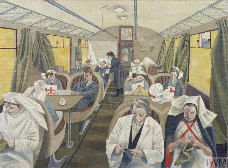 Painting by Evelyn Dunbar of medical staff on an ambulance train during the Blitz