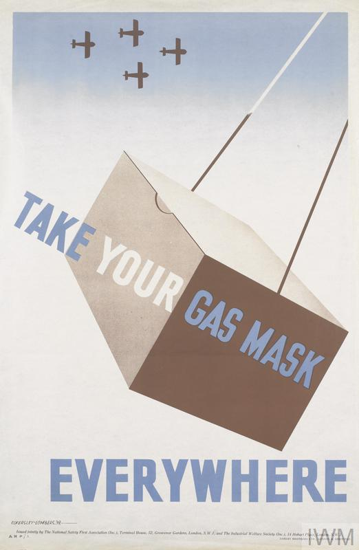 a brown gas mask box swinging from two strings. Behind, a white and blue sky in which the silhouettes of four aircraft, flying in formation, can be seen. text: TAKE YOUR GAS MASK EVERYWHERE ECKERSLEY-LOMBERS, 39, - Issued jointly by The National Safety First Association (Inc.).