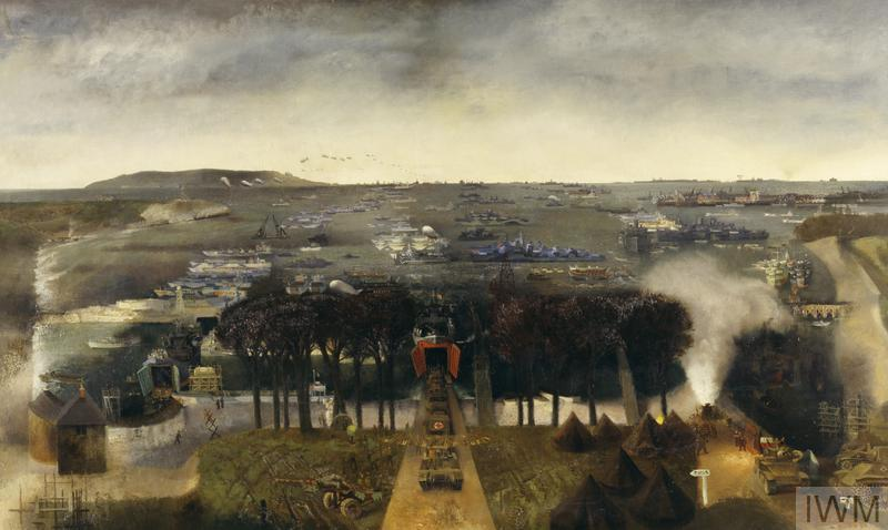 A coastal scene looking out to sea with an island on the left horizon. In the central foreground tanks line up for loading on board ship, through gaping red metal doors opening into a dark hold. On the right there are seven bell-tents, more tanks and a small group operating a smoke-screen generator. Beyond a central bank of trees the sea is covered with receding lines of ships in camouflage colours with a line of barrage balloons in the sky on the left.