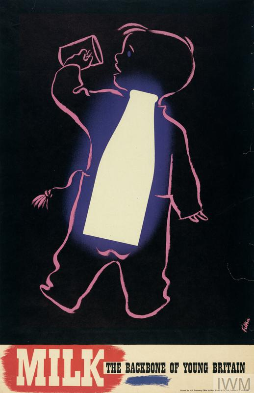 a pink outline of the back view of a young boy, drinking milk from a cup held in his left hand. Superimposed on his back is the shape of a large white milk bottle which appears to glow. All is set against a black background. text: MILK THE BACKBONE OF YOUNG BRITAIN.