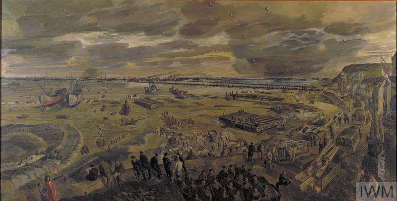 A panoramic view of a Normandy beach scattered with soldiers and equipment. In the background can be seen the artificial harbour known as Mulberry B. In the foreground observers watch road building and repairs, and combat troops being transported inland to the battlefront.