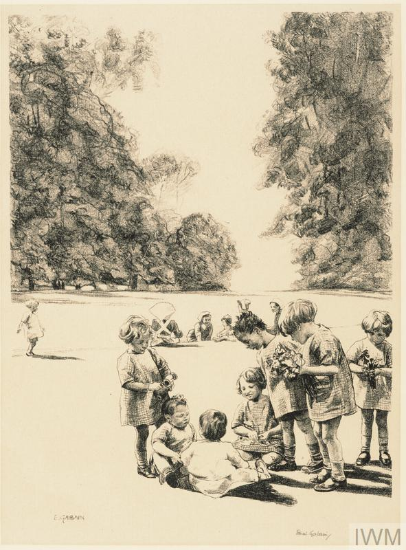 There are a group of infants in the foreground all dressed in identical checked smocks, ankle socks and shoes. Within the group are two toddlers sitting on the ground, looked upon by the older children around. Two of the children standing on the left hold posies of flowers. There are a few more children and four nurses sitting on a grass bank behind.