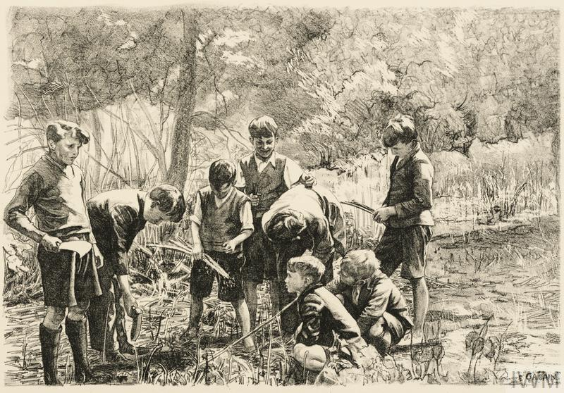 Boys from South-East London gathering Sticks in Cookham Wood Children in Wartime - Five Lithographs by Ethel Gabain