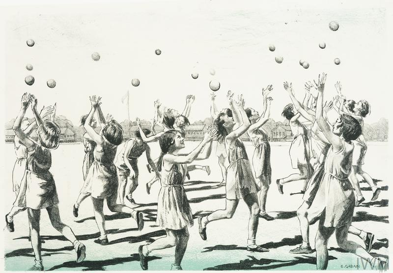London Schoolgirls at Finnemore Wood Camp Children in Wartime - Five Lithographs by Ethel Gabain