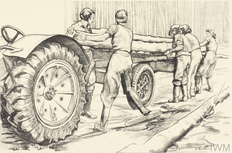 Loading Logs on a Tractor at a Banffshire Lumber Camp