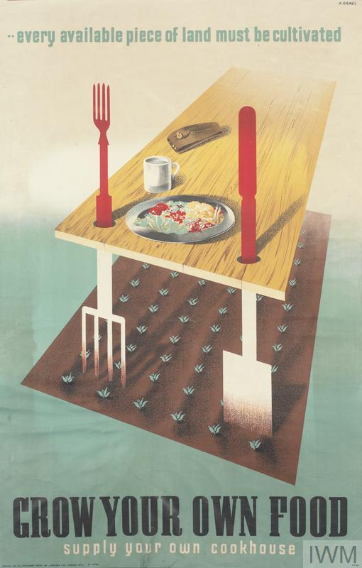 a depiction of a small patch of cultivated land from which new crops sprout. A garden fork and spade stand upright in the soil, holding up one end of a table. The handles of the fork and spade penetrate the table and form into cutlery: a fork and a knife. The table is set with a plate of food and a mug, next to which a soldier's cap lies. text: A. GAMES ..every available piece of land must be cultivated GROW YOUR OWN FOOD supply your own cookhouse.
