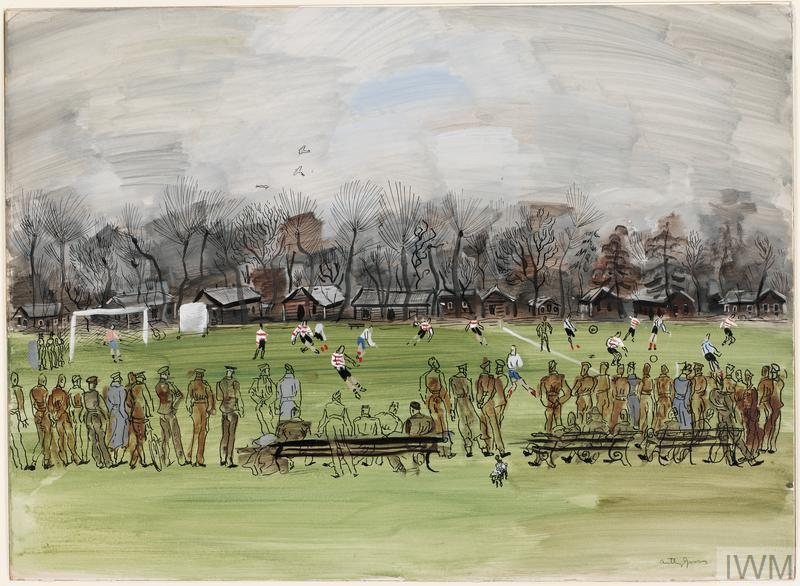 A winter's day; a football match in an open field, with cricket screen, trees and buildings behind. A line of soldiers, some wearing grey coats, watches from the near touchline. A few are seated on benches.