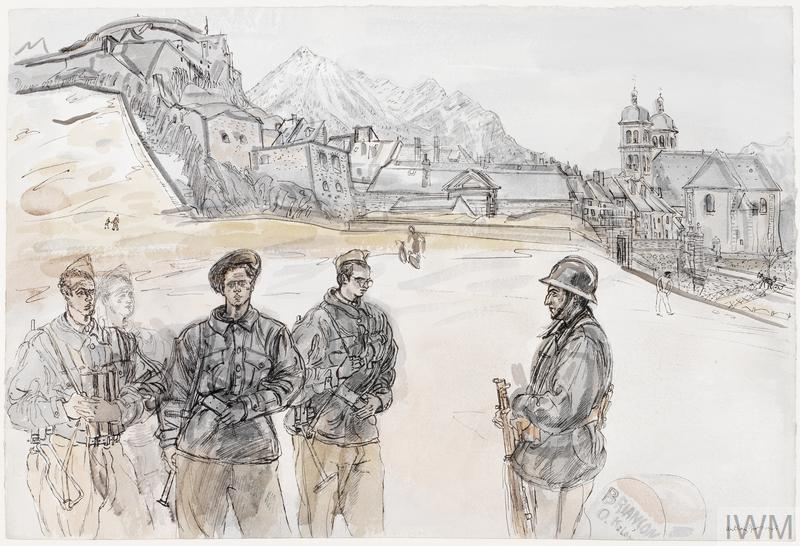 five French soldiers stand in a group lower left, with the town of Briançon visible on the mountain side in the background.