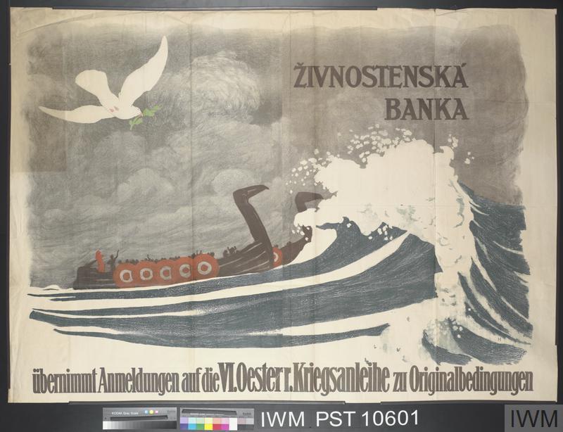 Živnostenská Banka übernimmt Anmeldungen auf die Sechste Oesterreichische Kriegsanleihe [Živnostenská Banka accepts applications for the Sixth Austrian War Loan]