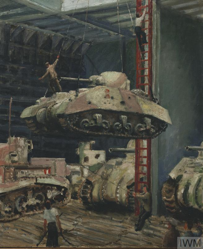 Damaged Tanks being Lowered into the Hold of a Merchant Ship