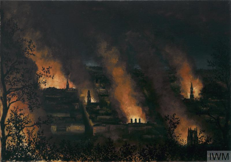 a night-scene over Bath, showing treetops, spires, rooftops and chimneys silhouetted against orange flames and surrounded by darkness.