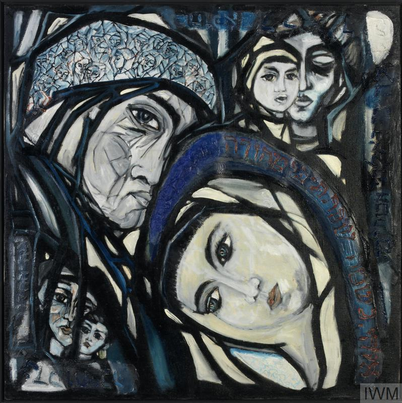 There are two main portraits showing a woman and a man with their heads covered facing the viewer, but inclining their heads towards each other. In the lower left corner there are two other, smaller faces also facing the viewer. In the upper right corner of the canvas the face of a mother with a child is visible. The child's face partially obscures the mother's downcast face.
