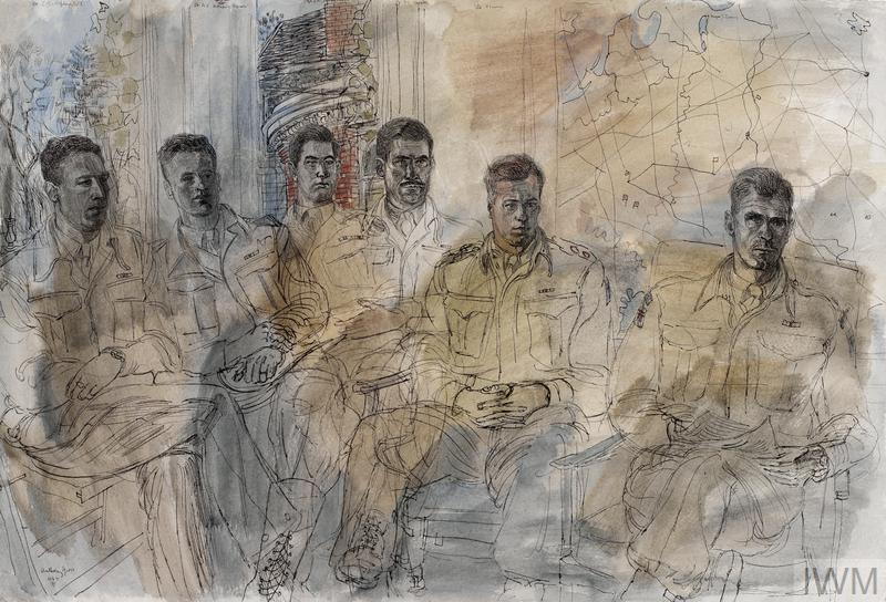 the six British officers sit in a semi-circle posing for the artist. In the background is a map on the wall next to a window.