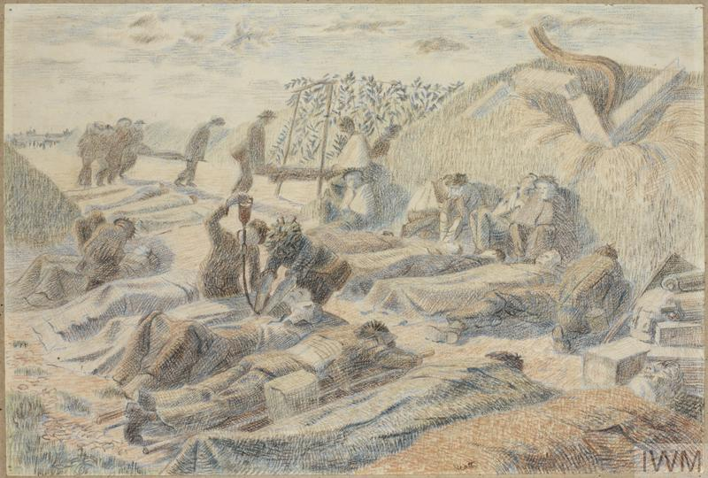 Two rows of injured British soldiers lie on the ground or on strechers in the shade of a small hillock surrounded by camouflage nets. Others sit with their arms in slings and their heads bandaged. One of the men is being given a drip by two others. In the background stretcher-bearers carry bodies past.