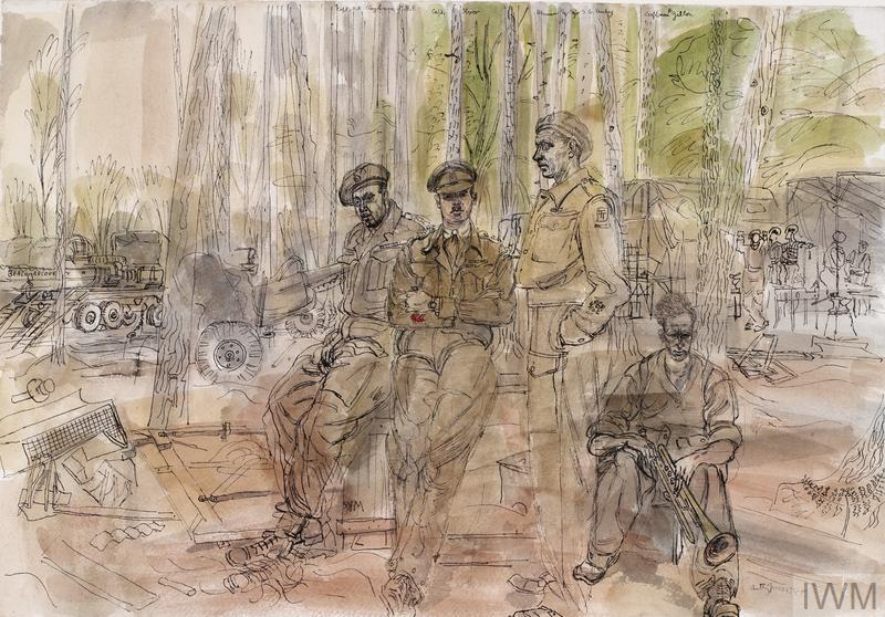 Two British soldiers sit together on a crate, while a third stands to their left. Next to him a fourth man in civilian clothing sits on a smaller box holding a trumpet. The background is a camp in the forest with military vehicles and an artillery gun visible to the left.