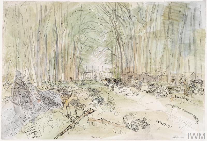 Looking down a track through a wood with vehicles parked under the trees. In the foreground, equipment and debris, including rifles and spades, are strewn on the verges with some British soldiers standing on the right. At the end of the drive stands the Chateau.