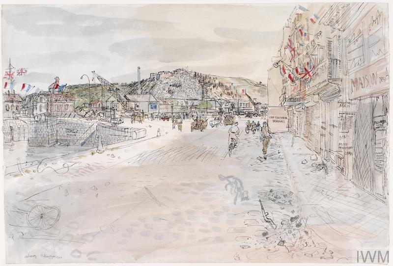 Looking down the quayside following the D-Day landings, with military personnel and vehicles, including a bicycle. French Tricolores and Union Jacks are hanging from buildings. A rifle and grenades lie in the gutter.