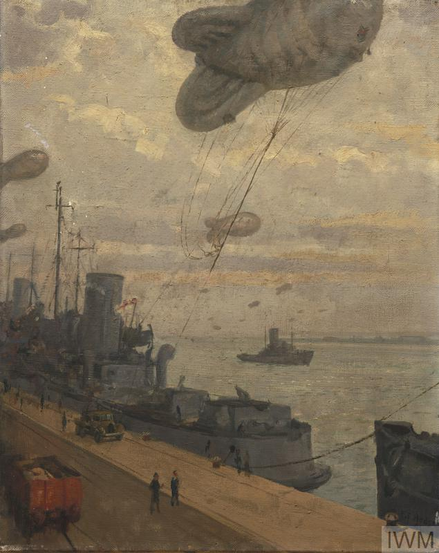 A Balloon being transferred to a Land Winch from a Barrage Balloon Vessel
