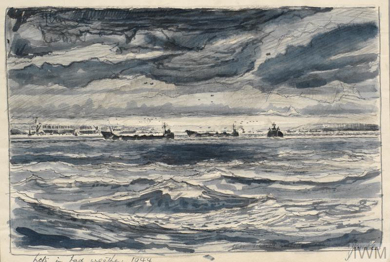 A seascape with a low cloudy sky, peppered with barrage balloons. On the horizon there are landing craft near the shore.
