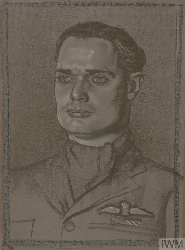 A head and shoulders portrait of Bader wearing uniform and a cravat.