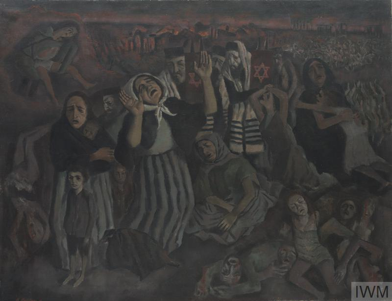 A scene of mourning. A group of Jewish men, women and children weep and mourn over a mound of corpses. In the background are further large heaps of corpses and burning buildings. The mourning men wear prayer shawls and pillbox hats and carry Torah scrolls; the women wear headscarves or shawls over their hair.