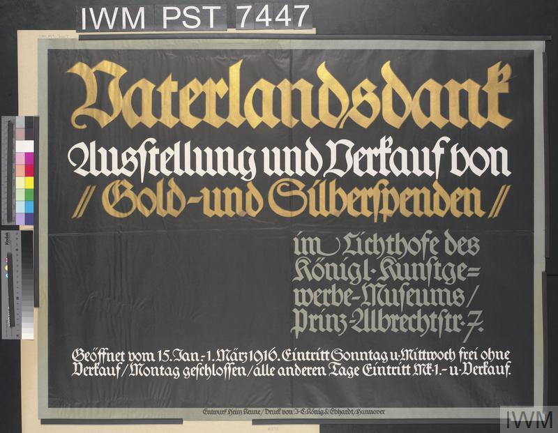 Vaterlandsdank - Ausstellung und Verkauf von Gold und Silberspenden [Fatherland Thanksgiving - Exhibition and Sale of Gold and Silver Donations]