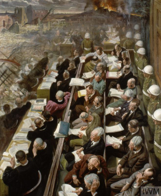 On the right two benches of the accused leaders stretch away from the foreground to the centre of the painting. Behind the defendants stands a line of white-helmeted military police who guard the benches and separate them from the court beyond. On the left, in front of the defendants, sit two rows of lawyers, largely in black robes. The lawyers and the defendants study sheaves of paper.