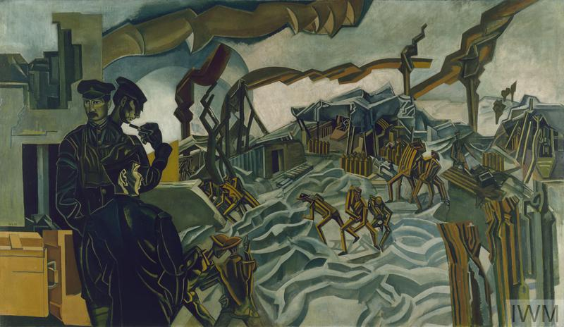 Three officers stand to the left of the composition beside a pile of ammunition boxes. Each looks in a different direction. One has his back to the viewer and looks out over the scene of the painting. There are marionette-like figures moving over broken ground, amongst the huts and shattered trees. Streams of stylised smoke erupts from incoming shells and spreads across the sky.