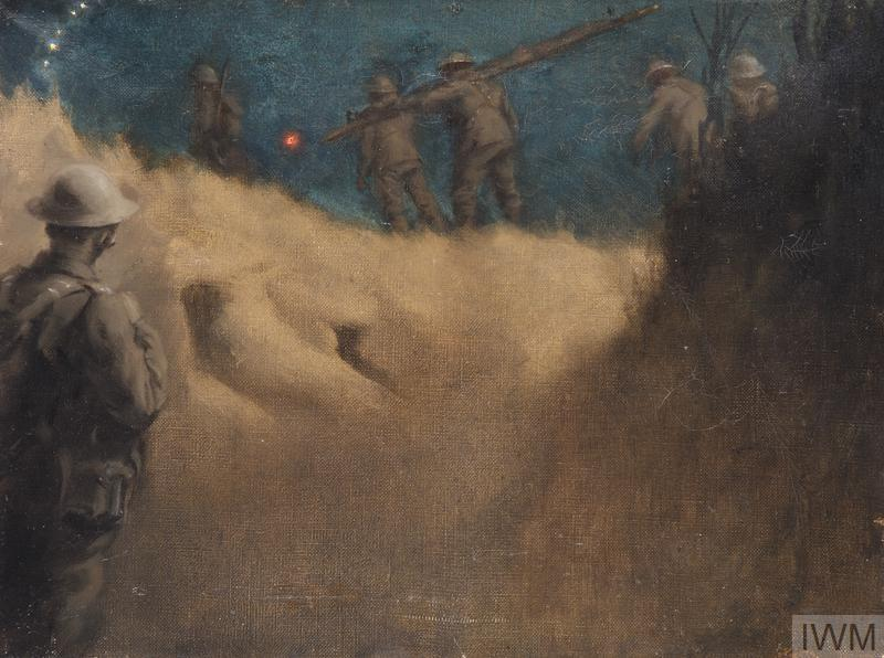 An RAMC Squad with Infantry : night at Nurlu, October 1918