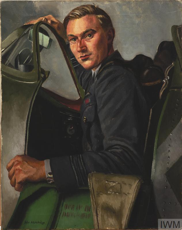 half-length portrait of Squadron Leader J A Leathart in uniform, pictured sitting in the open cockpit of a Spitfire.