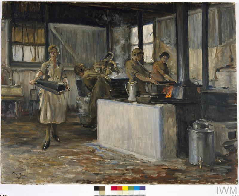 Members of the QMAAC : at work in the cookhouse, RAF Camp, Charlton Park