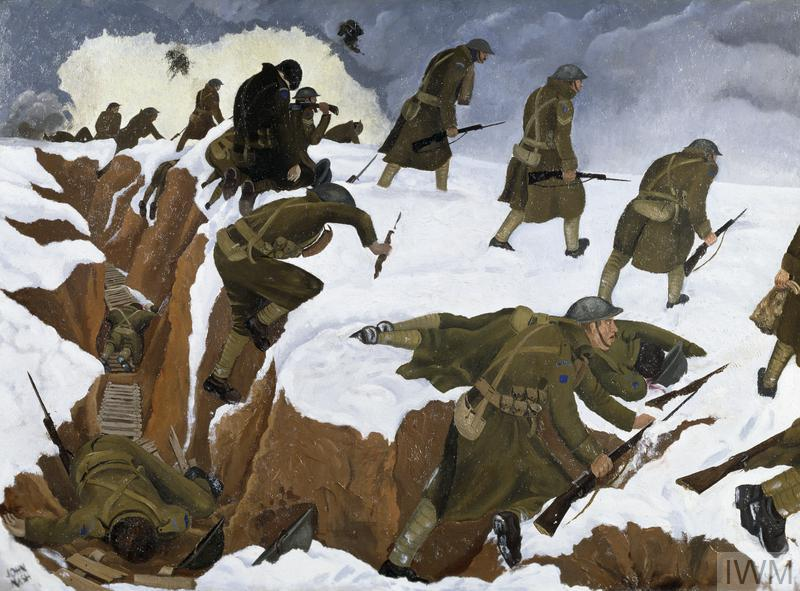 a landscape in the snow. On the left, a red earth trench lined with duckboards stretches away from the viewer. A group of soldiers clamber from the trench, going 'over the top'. Two lie dead in the trench and another has fallen lying face down in the snow. Those who have survived plod forward towards the right without looking back. They walk beneath a grey, stormy sky, with clouds from shell and gunfire in the distance.