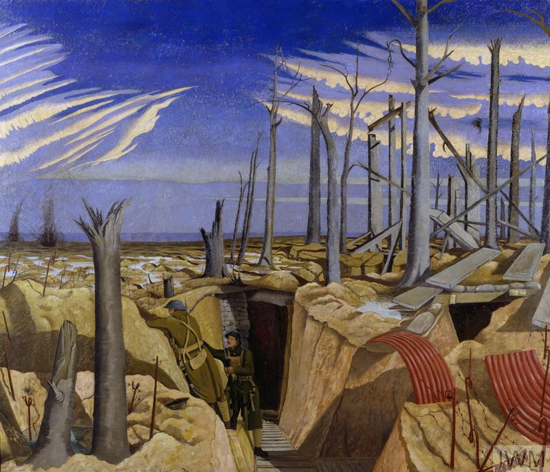 the lower half of the composition has a view inside a trench with duckboard paths leading to a dug-out. Two infantrymen stand to the left of the dug-out entrance, one of them on the firestep looking over the parapet into No Man's Land. There is a wood of shattered trees littered with corrugated iron and planks at ground level to the right of the composition. The sky stretches above in varying shades of blue with a spectacular cloud formation framing a clear space towards the top of the composition.