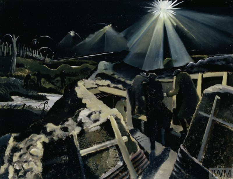 A night scene showing three soldiers on the fire step of a trench surprised by a brilliant star shell lighting up the view over the battlefield. On the left there is a flooded shell-hole, beyond which stand three other soldiers, overlooked by a woodland of tree stumps.