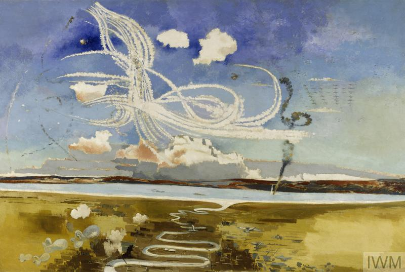 An abstracted aerial view of a wide flat landscape including the mouth of a river. Above the sky is full of contrails, and to the upper right aircraft can be seen flying in formation.