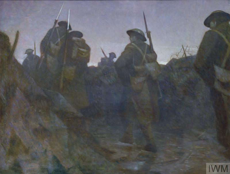 British soldiers walking through a trench at dawn. They wear full kit, and walk with their backs to the viewer. The heaviness of the scene is reflected in the grey landscape and sky beyond.