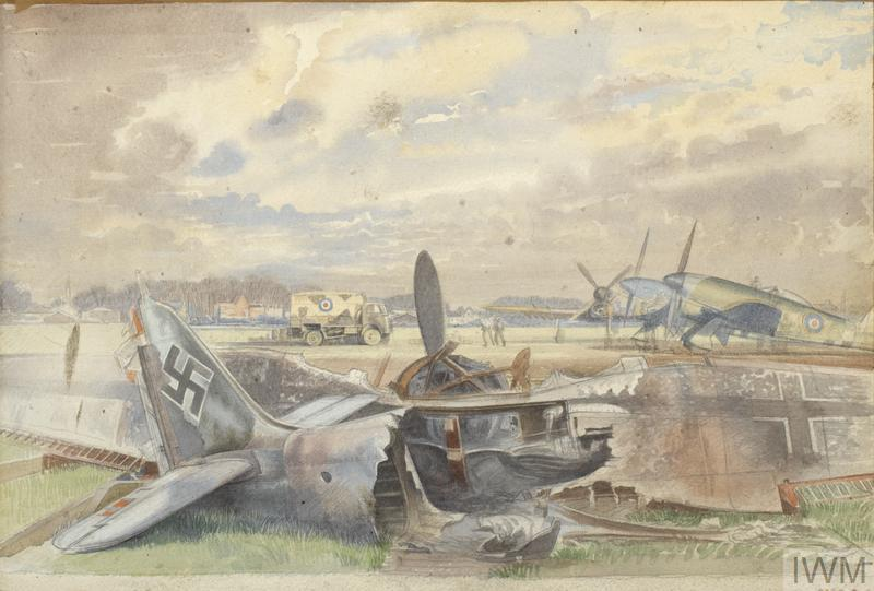 Burnt-out Focke-Wulfe and Typhoon Aircraft at Antwerp, 1944