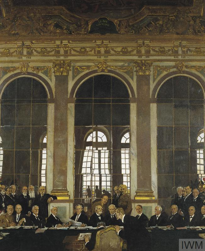 The Signing of Peace in the Hall of Mirrors, Versailles, 28th June 1919, by William Orpen