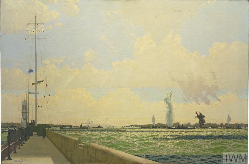 several large explosions in the sea as a naval convoy is shelled, viewed from a quay side which can be seen stretching along the left edge of the painting. The coastline curves around in the background.