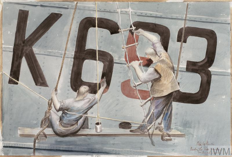 Painting the Ship's Number on an Escort Vessel