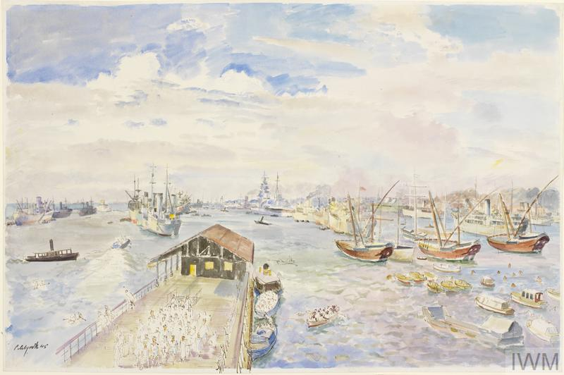 Colombo Harbour : sailors from the Queen Elizabeth on shore leave