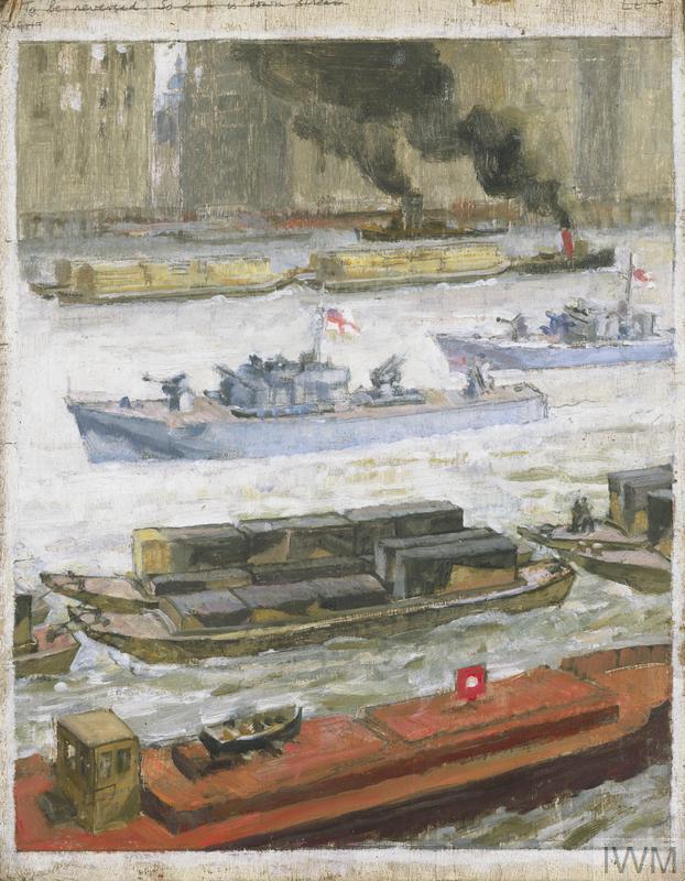 War-time traffic on the river Thames: War-supplies at Paul's Wharf