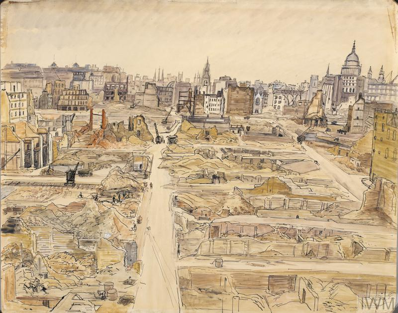 Painting of the devastation around St Paul's Cathedral during the Blitz