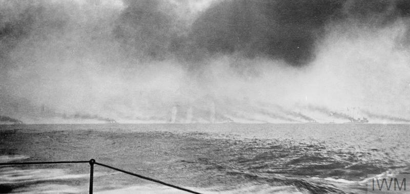 Battle of Jutland, 31st May 1916. The German ships are out of sight around 18,500 yards beyond the British ships. The light cruiser HMS CHAMPION and the 13th Destroyer Flotilla (MORESBY, NARBOROUGH, NERISSA, NESTOR, NICATOR, NOMAD, OBDURATE, ONSLOW, PELICAN and PETARD) are taking stations ahead of the British battlecruisers. As is shown the battlecruisers were led by HMS LION and the 1st Battlecruiser Squadron (PRINCESS ROYAL, QUEEN MARY, TIGER), the 2nd Battlecruiser Squadron (NEW ZEALAND, INDEFATIGABLE).