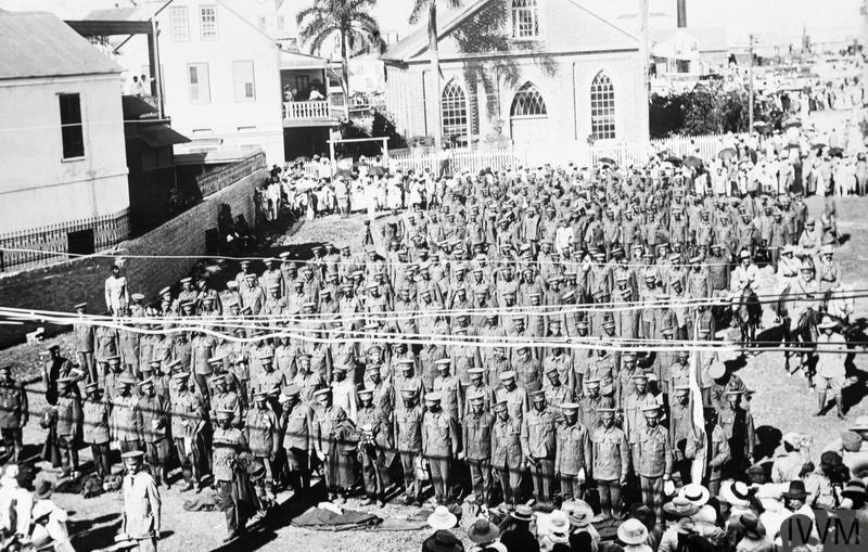Second contingent of West Indian troops prior to departure, Kingston, Jamaica